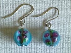 Blue flower lampwork earrings